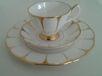 Royal Vale white and gold cup saucer and plate trio Excellent condition