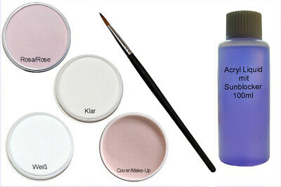 Set Acryl Pulver Puder je 20g Klar, Weiß, Rose, Cover + Pinsel + 100ml Liquid