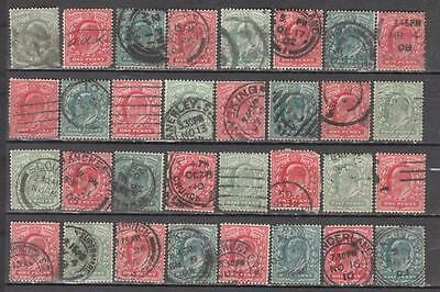 King Edward Vll 1/2d + 1d 32 In Total Unchecked for Watermarks , Perfs & Printer
