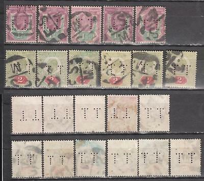 King Edward Vll Perfins 1 1/2d + 2d Unchecked For Printers & Shades 11 In Total