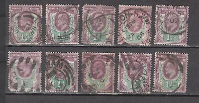 King Edward Vll Lot Of 10 x 1 1/2d Unchecked For Printers & Watermark All Used T