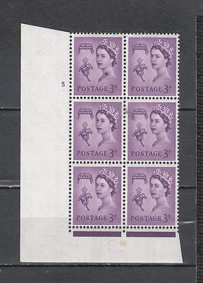 Queen Elizabeth ll Guernsey Pre-Decimal Block Of 6 With Cylinder No 5 With Out D