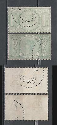 Queen Victoria Judicature Fees Stamps 1s + 2s With Perfin Used ( For Condition S
