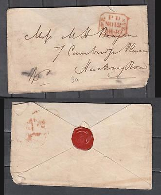 Queen Victoria Pre-Stamp Envelop Dated 1840 With Red Wax Seal On Black ( For Con