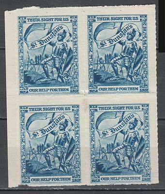 St Dunstan's Their Sight For Us Our Help For Them Block Of 4 Unmounted Mint Full