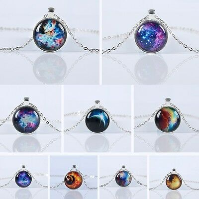 "NEBULA SPACE 1"" Glass Dome Silver-tone 18"" Cabochon Pendant Necklace Planets"
