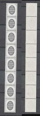 Vertical Coil Strip Of 8 Stamps For Testing Purposes Only  All Unmounted Mint Fu