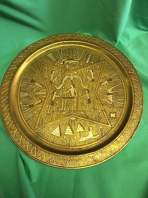 VTG  Copper Brass Inlaid or etched Serving Platter Egyptian Mixed Metals 19 1/2""