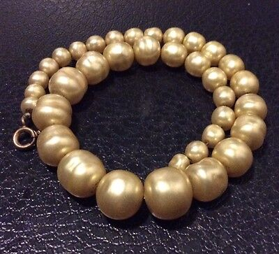 Antique Natural Large 10mm Pearl Choker Necklace With 18ct Gold Clasp & Wire