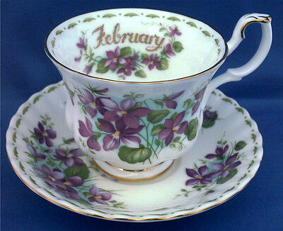 Royal Albert Flower Of The Month Cup & Saucer. Violets For February. Bone China
