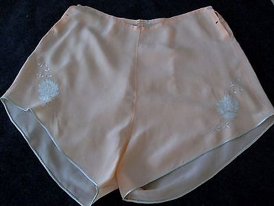 "VINTAGE 30's SILK EMBROIDERED LINGERIE TAP PANTIES  ""YOLANDE"" Hand Made"