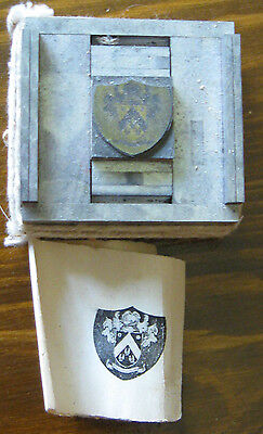 """Offset Printing Type Set Graphic Plate Coat of Arms  25/32"""" x 25/32"""""""