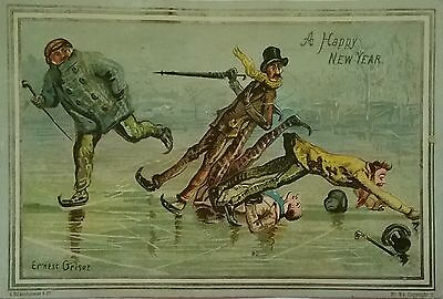 Fab Victorian S. HILDERSHEIMER New Year Card.Tumbles on ice.( which sparkles)