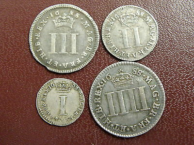1688 King James II SILVER MAUNDY COIN SET includes SCARCE VARIETIES - High Value