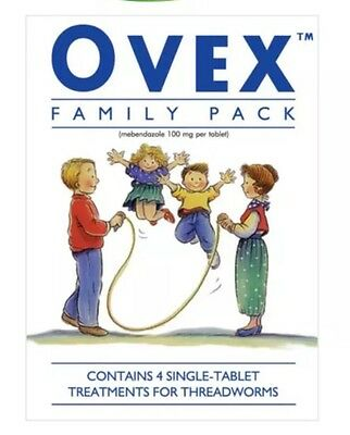 OVEX. Threadworm Treatment Family Pack (4) Tablets. Enterobius Vermicularis.