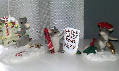 """Charming Tails (3) Christmas """" Stuck On You"""",""""The Trimmings"""",""""Wish List"""""""