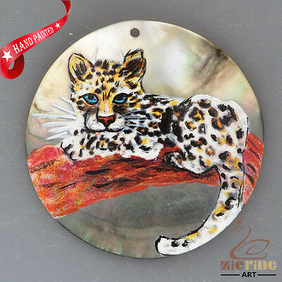 Hand Painted Leopard Natural Mother Of Pearl Shell Necklace Pendant Zh30 00208