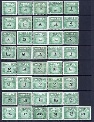WINE REVENUES RE108//146 Mint Never hinged - almost complete  cv$104.20