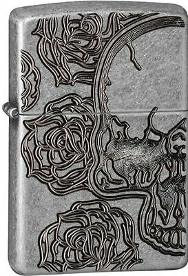 Zippo 28988, Skull & Roses, Deep Carved, Antique Silver Plated Armor Lighter