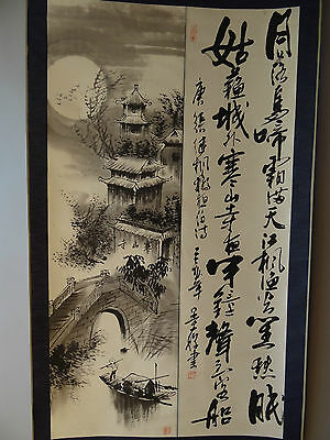 """Chinese hanging scroll Handpainted on Paper """"Calligraphy & Temple"""" a0106"""