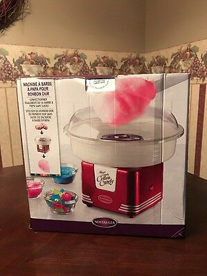 NIB Red NOSTALGIA ELECTRIC Cotton Candy Machine PCM805 Hard Candy Sugar Free