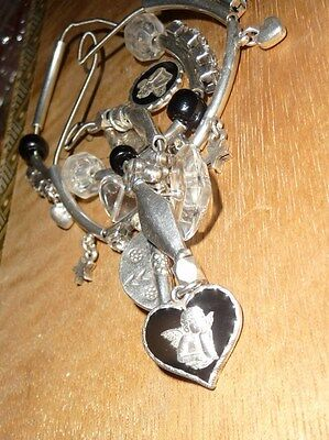 VINTAGE GAS BIJOUX Silver Plated Strung bracelets with Enamel Cherub and CZ's
