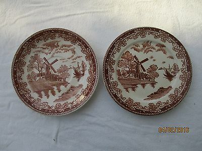 vintage brown transferware 6 in saucers WINDMILL DESIGN