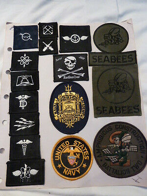 Lot of 17 US Navy Patches Naval Academy Seabees Batallion 2 Ratings Nice Set!!!!