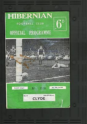Hibs v Clyde 1969 football programe autographed