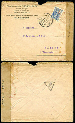 Greece Usa 1917 From Salonika With British/french Censorship