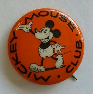"Rare Orange 1928-30 Mickey Mouse Club Pinback/Button. 31.7mm (Approx. 1 1/4"")."