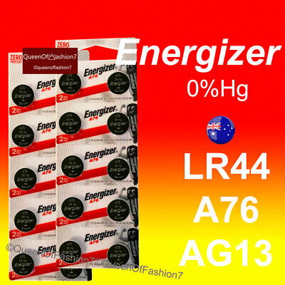 20 x LR44 Energizer Battery Genuine 0%Hg 1.5V A76/AG13 Alkaline Batteries Fresh