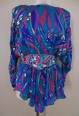 Vintage Judith Ann Creations Top multicolor silk chiffon beads sequins XS/S