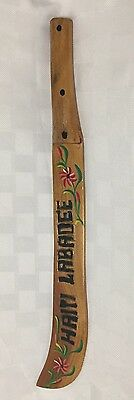 Haiti Labadee Souvenir Wooden Machete Hand Painted Carved Flowers