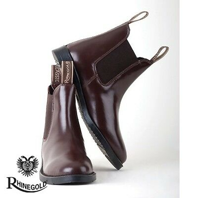 Rhinegold Adults Classic Leather Jodhpur Boots – Size 8, BROWN  **FREE P&P**