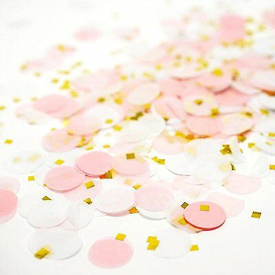 Pink White Gold Metallic Tissue Paper Shredded Circle Confetti Party Decoration