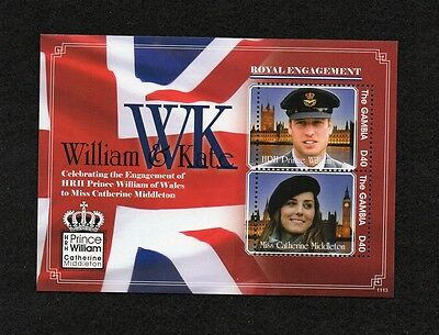 GAMBIA -  William and Kate sheet **NH**