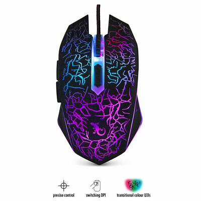 Gecko Gaming Mouse 6D Wired/Optical/Switching DPI Black w/ Changing LED Lights