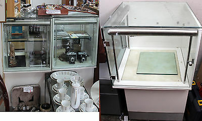 3 glass white shop retail display cases units cabinets lights some repair needed