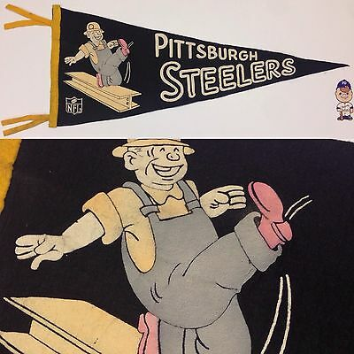1960's Pittsburgh Steelers NFL Football Full Size Pennant Flat Ship 10.5x27