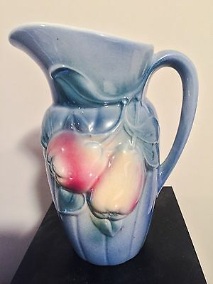 "8"" Royal Copley Blue Pottery Pitcher Apples And Pears 1930's Vintage"