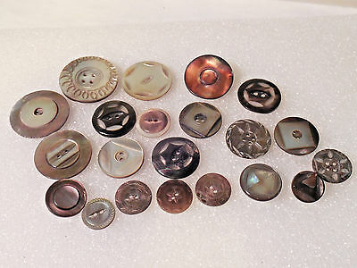 Antique Vintage Lot Carved Mother of Pearl & Abalone Shell Buttons
