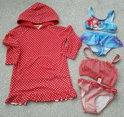 Grils Swimsuits and towel hoodie 3-4 years