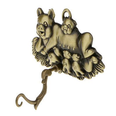 Metal Hollow Out Pig Wind Chime Hanger Bell Charm Hook Wall Outdoor Decor