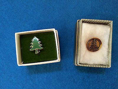 Lot of 2 Vintage Girl Scout PINE TREE Pins with Boxes