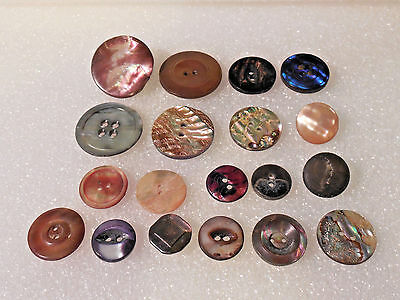 Antique Vintage Lot Colorful  Mother of Pearl & Abalone Shell Buttons