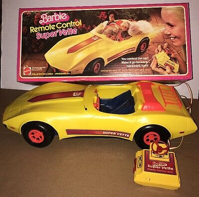 "Vintage Yellow BARBIE ""Remote  Control Super' Vette Corvette Car W/Box It Works!"
