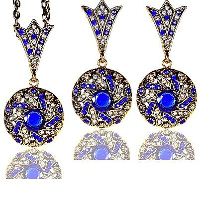 Vintage-inspired Swirl Gold Blue Sapphire Crystal Round Drop Costume Jewelry Set