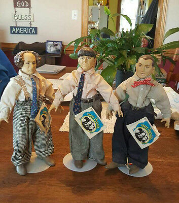 1988 Three 3 Stooges Presents Hamilton Gifts Statues Figures Curly Moe Larry