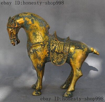 Ancient Chinese Fengshui Bronze gilt success Zodiac War Tang Horse Animal Statue